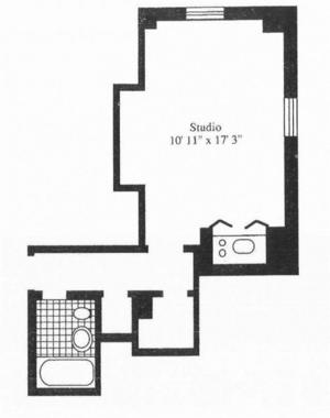 floorplan for 5 Tudor City Place #327