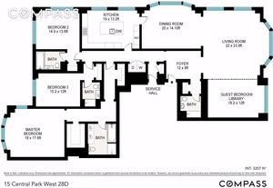 floorplan for 15 Central Park West #28D