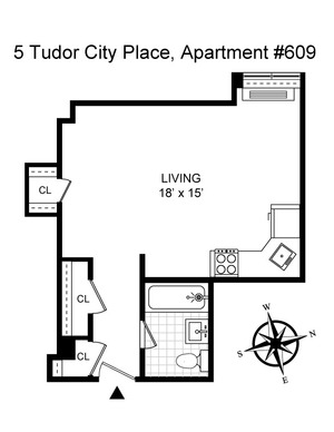 floorplan for 5 Tudor City Place #609