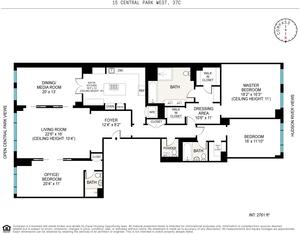 floorplan for 15 Central Park W #37C