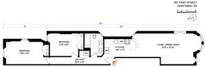 floorplan for 397 1st Street #3R