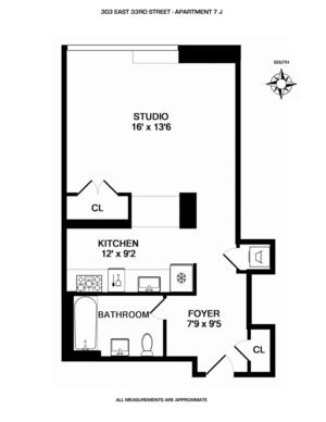 floorplan for 303 East 33rd Street #7J