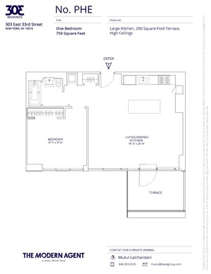 floorplan for 303 E 33rd Street #PHE