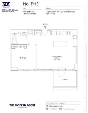 floorplan for 303 E 33rd Street #PHE