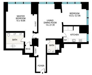 floorplan for 845 United Nations Plaza #22H