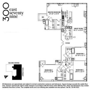 floorplan for 300 East 79th Street #11C