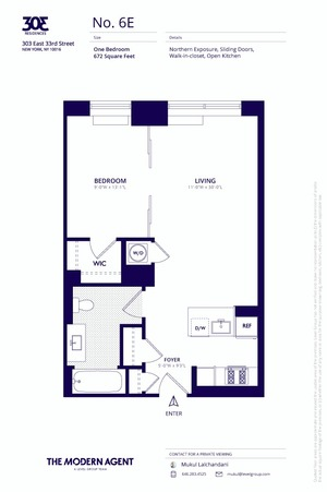 floorplan for 303 E 33rd Street #6E