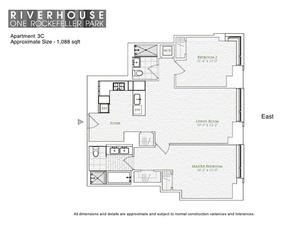 floorplan for 2 River Terrace #3C