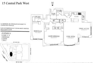 floorplan for 15 Central Park West #16M
