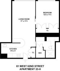 floorplan for 61 West 62nd Street #23H