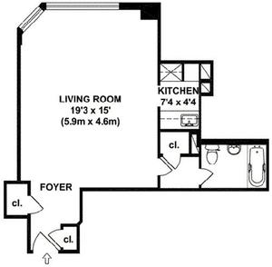 floorplan for 200 East 36th Street #5J