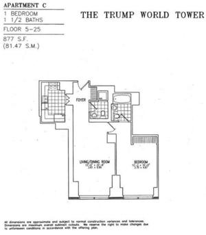 floorplan for 845 United Nations Plaza #25C