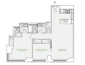 floorplan for 2 River Terrace #3E