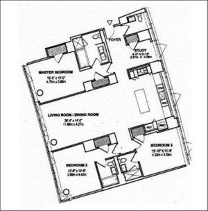 floorplan for 2 River Terrace #11T