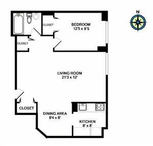 floorplan for 61 West 62nd Street #17N