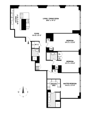 floorplan for 845 United Nations Plaza #77A