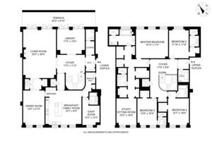 floorplan for 15 Central Park West PH18/19B