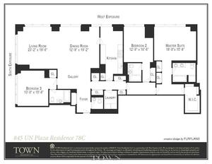 floorplan for 845 United Nations Plaza #78C