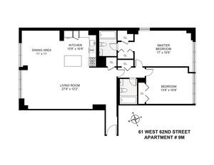 floorplan for 61 West 62nd Street #9M