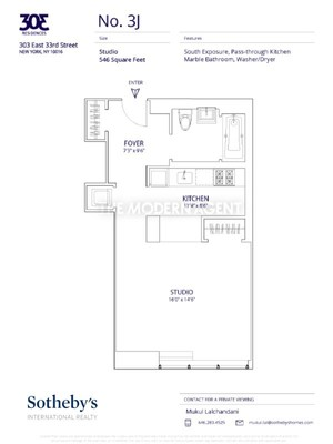 floorplan for 303 East 33rd Street