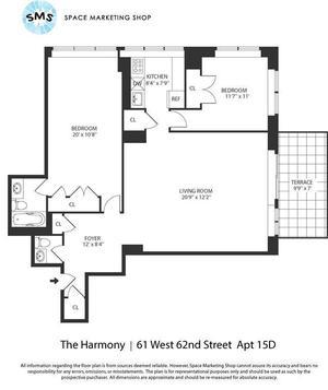 floorplan for 61 West 62nd Street #15D