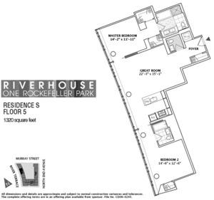 floorplan for 2 River Terrace #3S