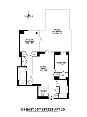 floorplan for 303 East 33rd Street #2D