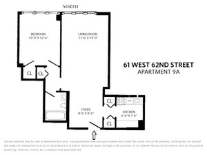 floorplan for 61 West 62nd Street #9AFURN