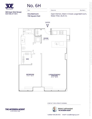 floorplan for 303 East 33rd Street #6H