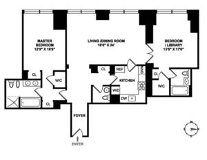 floorplan for 845 United Nations Plaza #41D