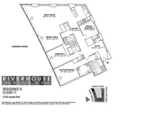 floorplan for 2 River Terrace #11R