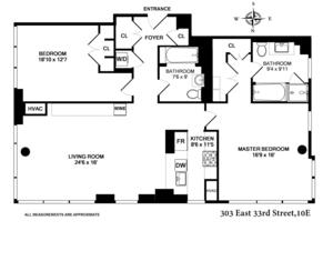 floorplan for 303 East 33rd Street #10E