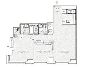 floorplan for 2 River Terrace #4E