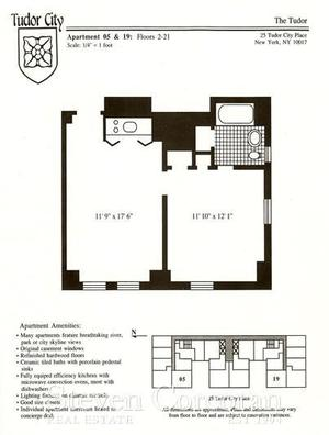 floorplan for 5 Tudor City Place #1305