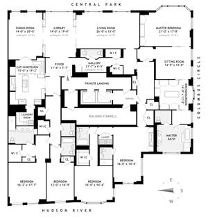 floorplan for 15 Central Park West #35AB