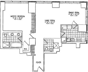 floorplan for 845 United Nations Plaza #24H