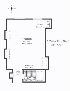 floorplan for 5 Tudor City Place #224