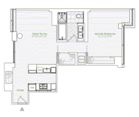 floorplan for 1 River Terr #11B