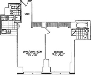 floorplan for 845 United Nations Plaza #6B