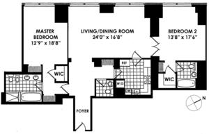 floorplan for 845 United Nations Plaza #59D