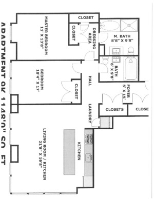 floorplan for 303 E. 33rd Street #9K