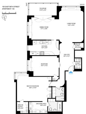 floorplan for 150 East 69th Street #11B