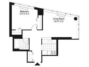 floorplan for 601 West 57th Street #15C