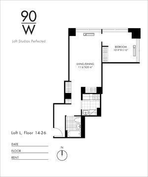 floorplan for 90 Washington Street #26L
