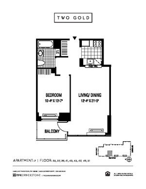 floorplan for 2 Gold Street #5107