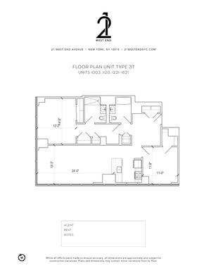 floorplan for 21 West End Avenue #1221