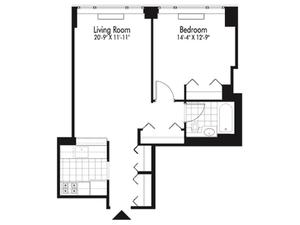 floorplan for 601 West 57th Street #18S
