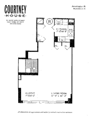 floorplan for 55 West 14th Street #2R