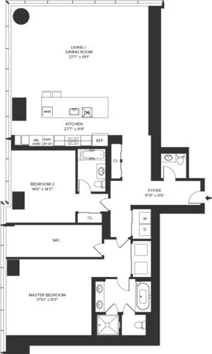 floorplan for 157 West 57th Street #39B