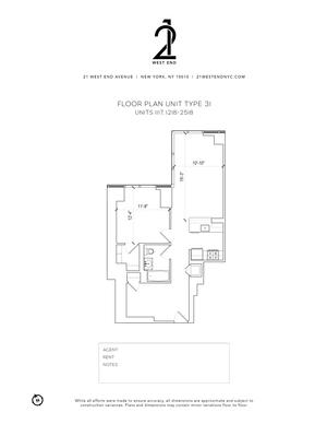 floorplan for 21 West End Avenue #1418